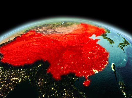 Morning above China highlighted in red on model of planet Earth in space. 3D illustration.