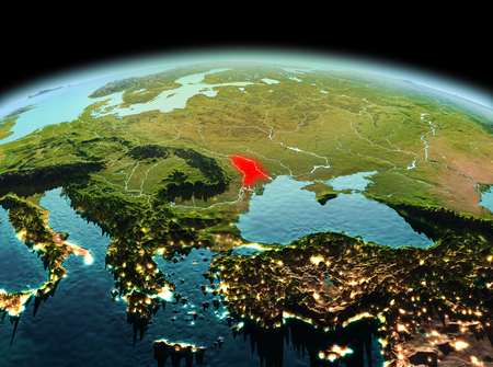 Morning above Moldova highlighted in red on model of planet Earth in space. 3D illustration.