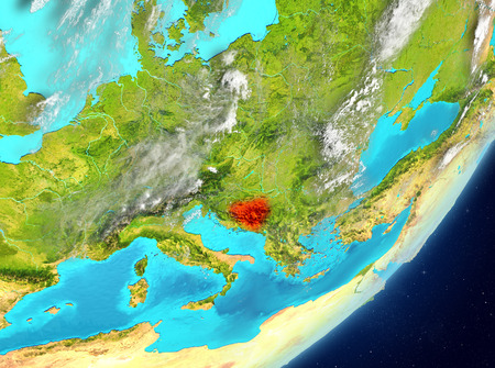 Satellite view of Bosnia and Herzegovina highlighted in red on planet Earth with clouds. 3D illustration. Stock Photo
