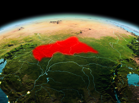 Morning above Central Africa highlighted in red on model of planet Earth in space. 3D illustration.