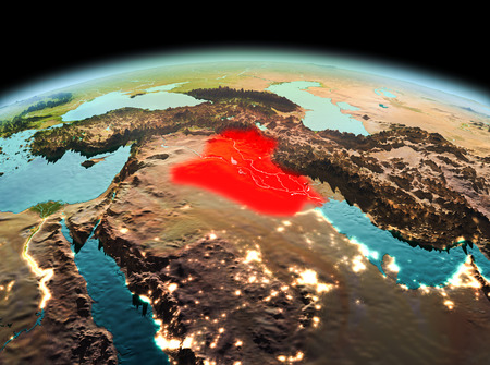 Morning above Iraq highlighted in red on model of planet Earth in space. 3D illustration.