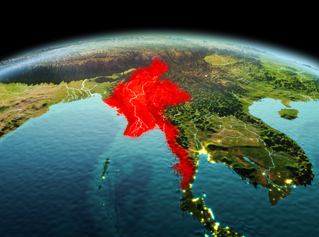Morning above Myanmar highlighted in red on model of planet Earth in space. 3D illustration. Stock Photo