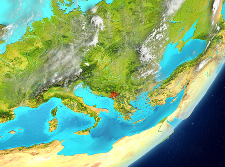 Satellite view of Montenegro highlighted in red on planet Earth with clouds. 3D illustration.