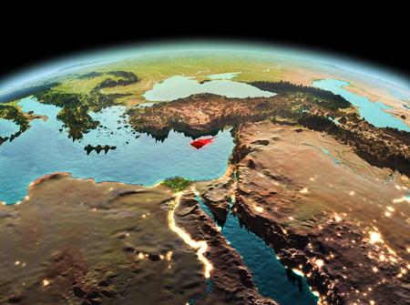 Morning above Cyprus highlighted in red on model of planet Earth in space. 3D illustration.