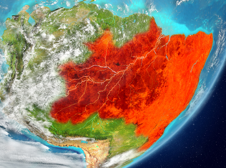 Satellite view of Brazil highlighted in red on planet Earth with clouds. 3D illustration.