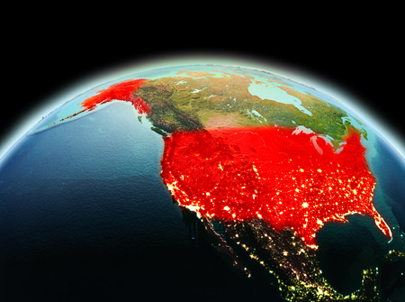 Morning above USA highlighted in red on model of planet Earth in space. 3D illustration.