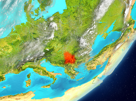 Satellite view of Serbia highlighted in red on planet Earth with clouds. 3D illustration. Stock Photo