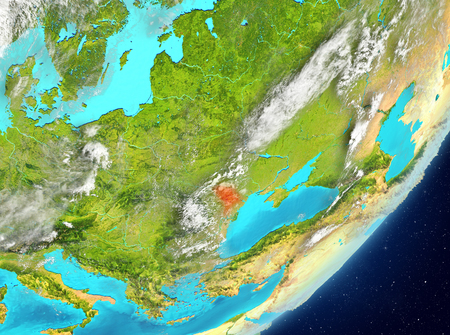 Satellite view of Moldova highlighted in red on planet Earth with clouds. 3D illustration. Elements of this image furnished by NASA.