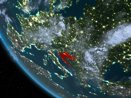 Croatia at night highlighted in red on planet Earth with clouds. 3D illustration.