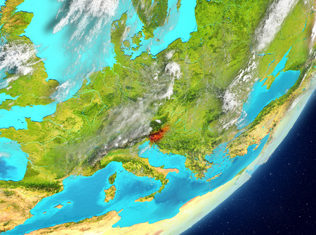 Satellite view of Slovenia highlighted in red on planet Earth with clouds. 3D illustration. Stock Photo