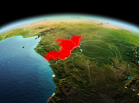 Morning above Congo highlighted in red on model of planet Earth in space. 3D illustration.