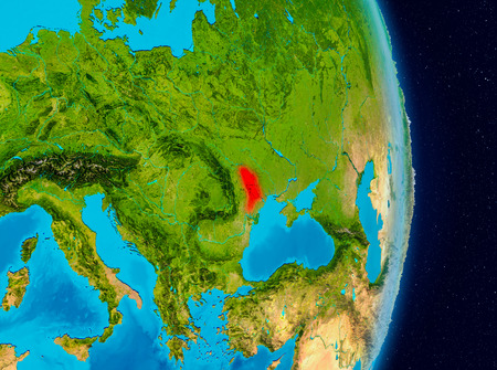 Country of Moldova in red on planet Earth. 3D illustration. Stock Photo