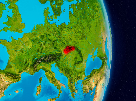Country of Slovakia in red on planet Earth. 3D illustration.