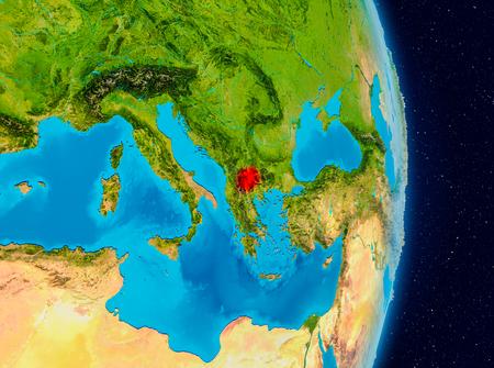Land van Macedonië in het rood op de planeet aarde. 3D illustratie. Stockfoto - 90941930