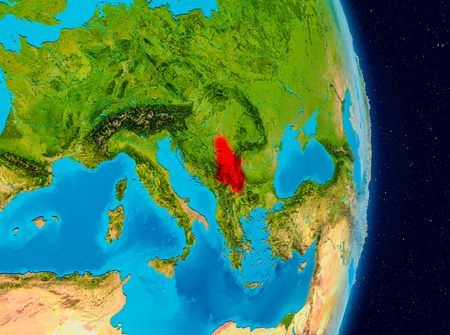 Country of Serbia in red on planet Earth. 3D illustration. Stock Photo