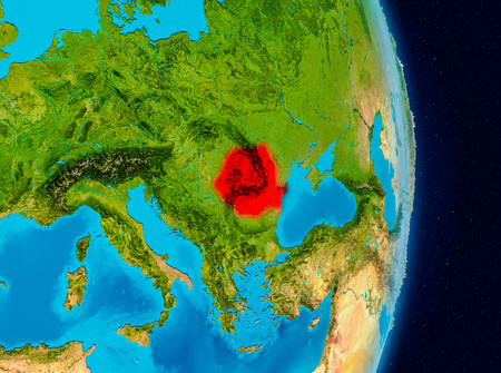 Country of Romania in red on planet Earth. 3D illustration. Stock Photo
