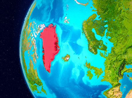 Illustration of Greenland as seen from Earth's orbit on planet Earth. 3D illustration.