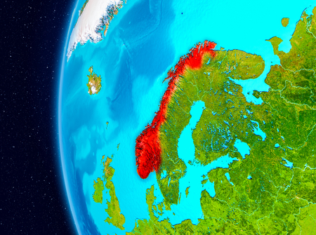 Illustration of Norway as seen from Earth's orbit on planet Earth. 3D illustration.