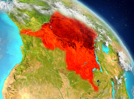 Illustration of Democratic Republic of Congo as seen from Earth's orbit. 3D illustration.