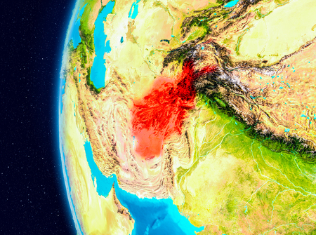 Illustration of Afghanistan as seen from Earth's orbit on planet Earth. 3D illustration.