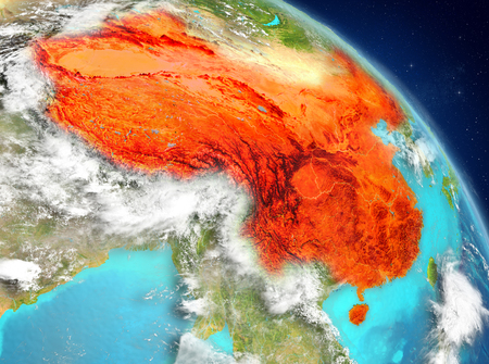 Illustration of China as seen from Earth's orbit. 3D illustration.