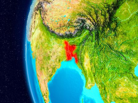 Illustration of Bangladesh as seen from Earth's orbit on planet Earth. 3D illustration. Banco de Imagens