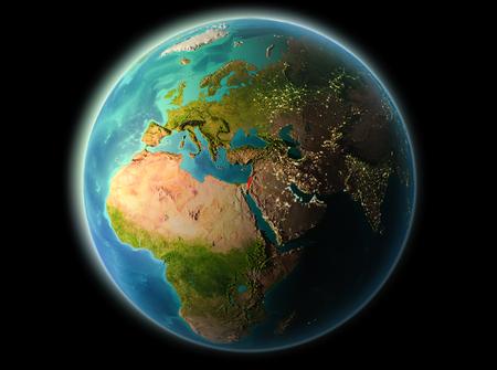 非常に詳細なテクスチャと夜の惑星地球の軌道からのイスラエル。3 D イラスト。