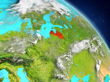 Illustration of Latvia as seen from Earth's orbit. 3D illustration. Imagens