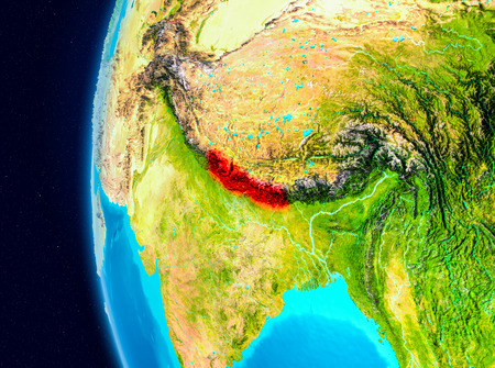 Illustration of Nepal as seen from Earth's orbit on planet Earth. 3D illustration.