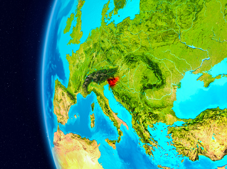 Illustration of Slovenia as seen from Earth's orbit on planet Earth. 3D illustration.