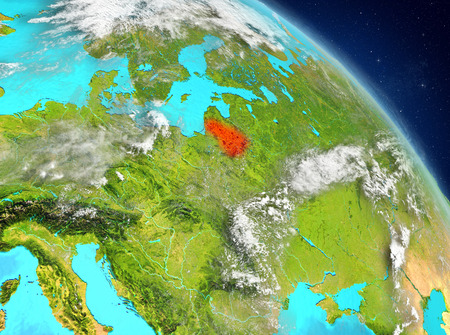 Illustration of Lithuania as seen from Earth's orbit. 3D illustration.