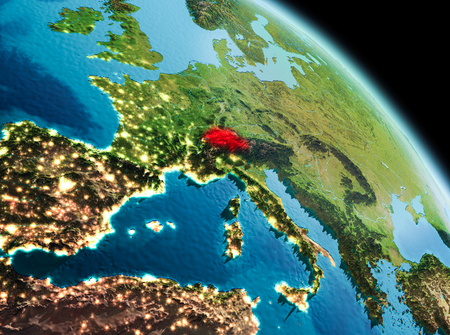 Satellite morning view of Switzerland highlighted in red on planet Earth. 3D illustration.