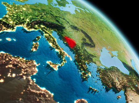 Satellite morning view of Bosnia and Herzegovina highlighted in red on planet Earth. 3D illustration.