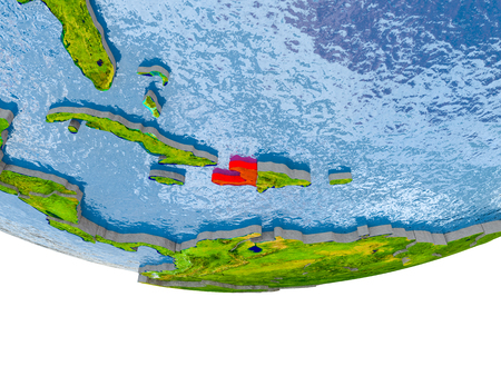 Haiti on 3D model of globe with real land surface, visible country borders and water in place of ocean. 3D illustration.