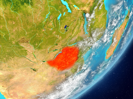 Satellite view of Zimbabwe highlighted in red on planet Earth with clouds. 3D illustration.