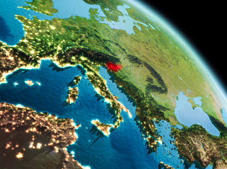 Satellite morning view of Slovenia highlighted in red on planet Earth. 3D illustration.