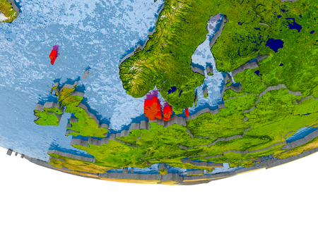 Denmark on 3D model of globe with real land surface, visible country borders and water in place of ocean. 3D illustration. Stock Photo