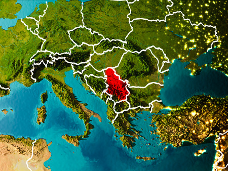Serbia in the morning highlighted in red on planet Earth with visible border lines and city lights. 3D illustration. Stock Photo