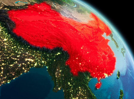 Satellite morning view of China highlighted in red on planet Earth. 3D illustration.