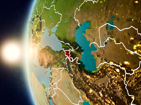 Illustration of Armenia as seen from Earth's orbit during sunset with visible country borders. 3D illustration.