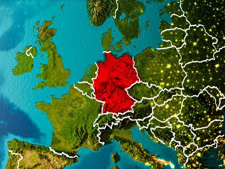 Duitsland in de ochtend rood gemarkeerd op de planeet aarde met zichtbare randlijnen en stadslichten. 3D illustratie Stockfoto
