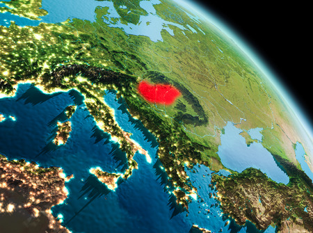 Satellite morning view of Hungary highlighted in red on planet Earth. 3D illustration.