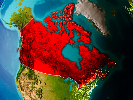Canada in the morning highlighted in red on planet Earth with visible border lines and city lights. 3D illustration.