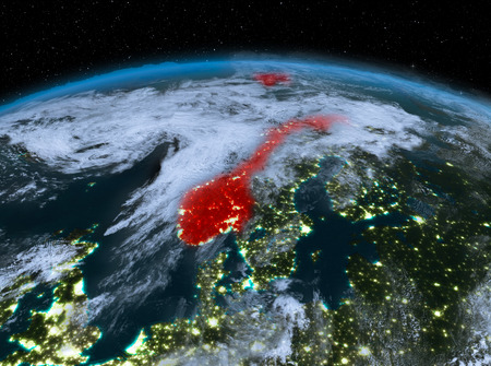 Satellite night view of Norway highlighted in red on planet Earth with clouds. 3D illustration.