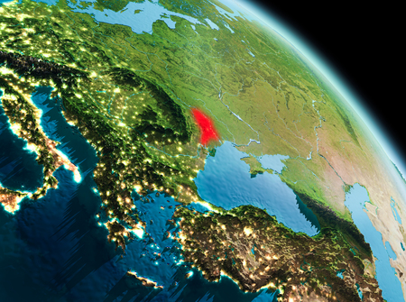 Satellite morning view of Moldova highlighted in red on planet Earth. 3D illustration.