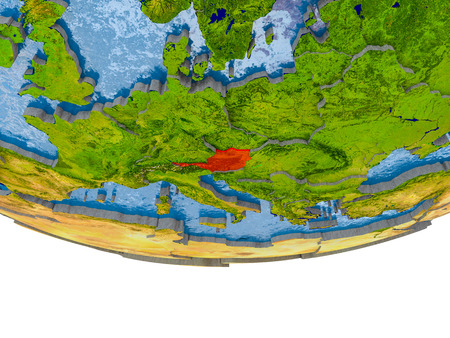 Austria on 3D model of globe with real land surface, visible country borders and water in place of ocean. 3D illustration.