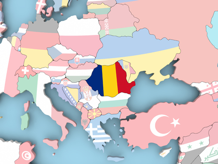 Romania with embedded flag. 3D illustration.