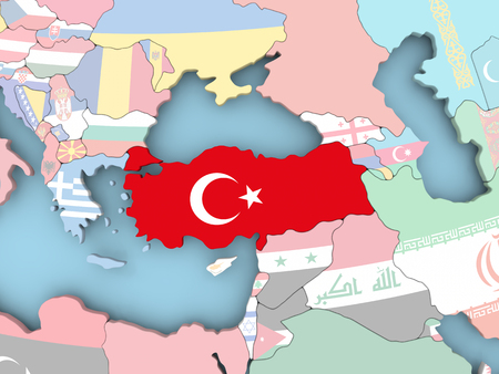 Turkey with embedded flag. 3D illustration.