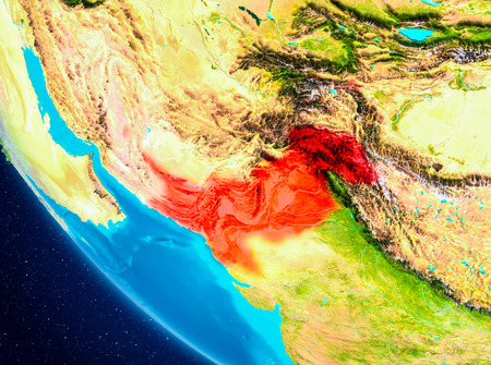 Pakistan highlighted in red on planet Earth. 3D illustration. Stock Photo