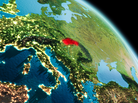 Satellite morning view of Slovakia highlighted in red on planet Earth. 3D illustration. Stock Photo